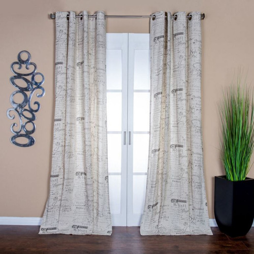 Lambrequin Neutral Graphic Print & Text Semi-Sheer Grommet ...