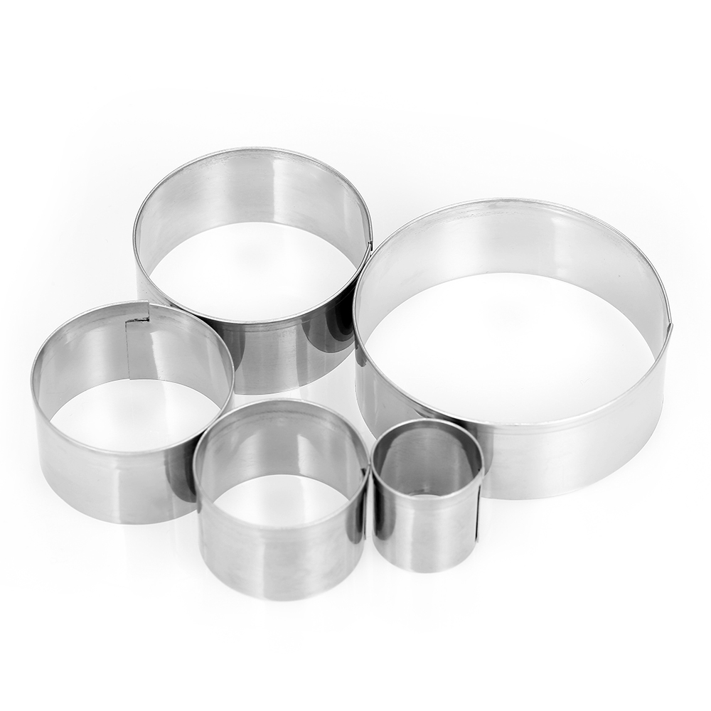 5pcs Round Stainless Steel Cookie Cutters Fondant Cutter ...