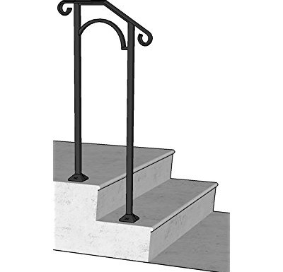 Iron X Handrail Arch 1 Concrete Steps Walmart Com Walmart Com | Railing For Concrete Steps | Stairwell | Retaining Wall | Concrete Slab Detail | Commercial | Safety