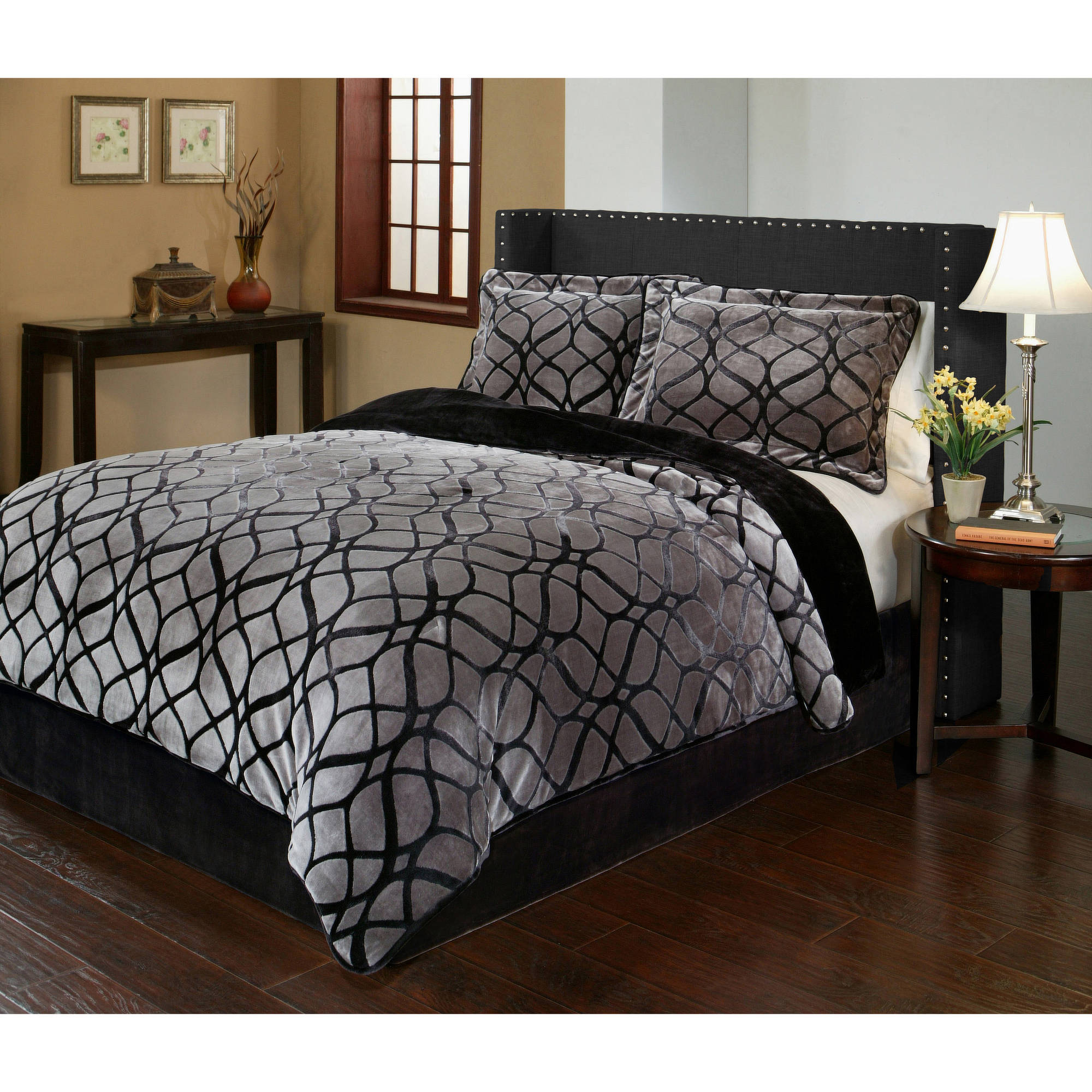 Matrix Velvet Plush Print Bedding Comforter Mini Set By