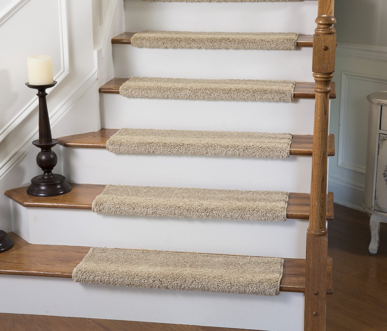 Upc 649070000130 Caprice Almond Bullnose Carpet Stair Tread With   Carpet Stair Treads Walmart   Beige Carpet   Risers   Stair Runner   Tread Rugs   Skid Resistant