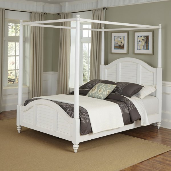 Home Styles Furniture Bermuda Brushed White Twin Canopy Bed     Home Styles Furniture Bermuda Brushed White Twin Canopy Bed