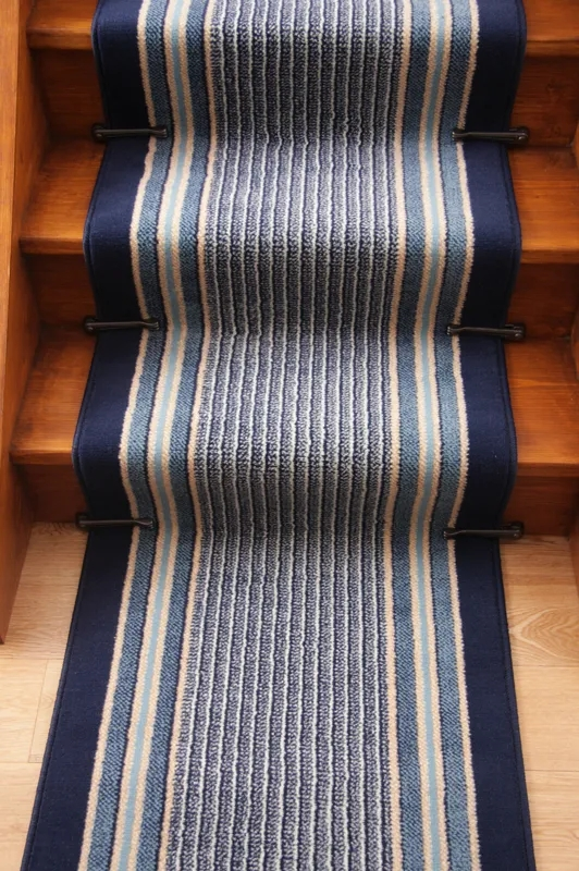 Narrow Navy Blue Any Length Extra Long Runner Rug Lima | Narrow Carpet Runners For Stairs