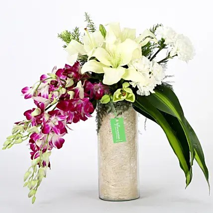 New Year Flowers Delivery Online at Midnight  Ferns N Petals Royal Floral Vase Arrangement  New Year Flowers