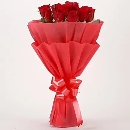New Year Flowers Delivery Online at Midnight  Ferns N Petals Vivid   Red Roses Bouquet  New Year Flowers