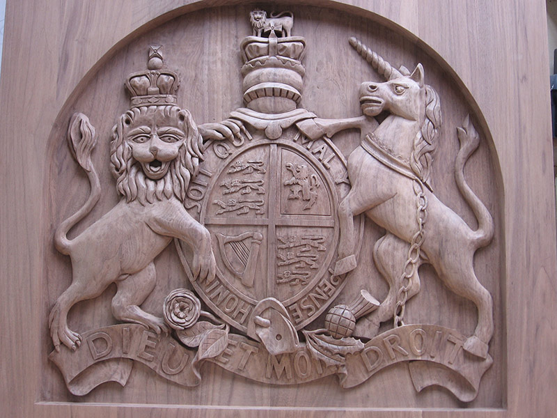 Coat of Arms. Walnut. Theatre Royal, Bath.