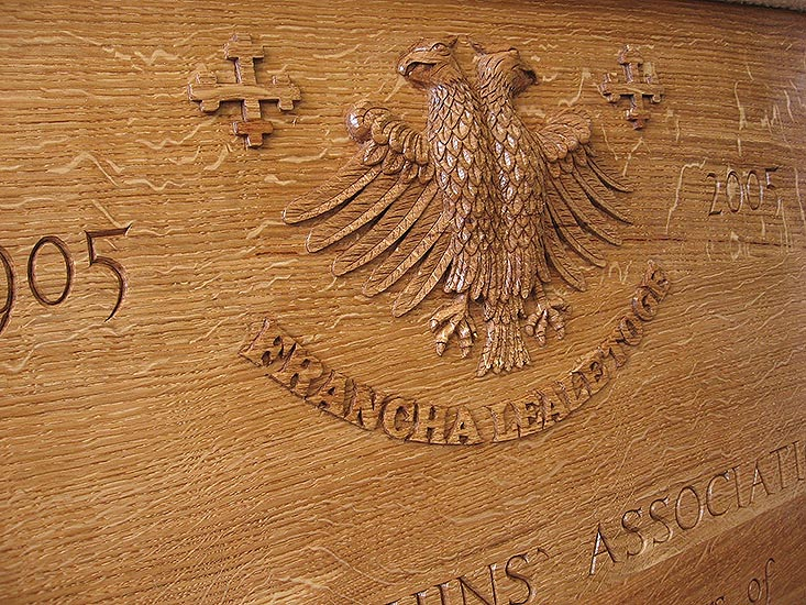 Anniversary Board carved in Oak relief. Godolphin & Latymer School, London.