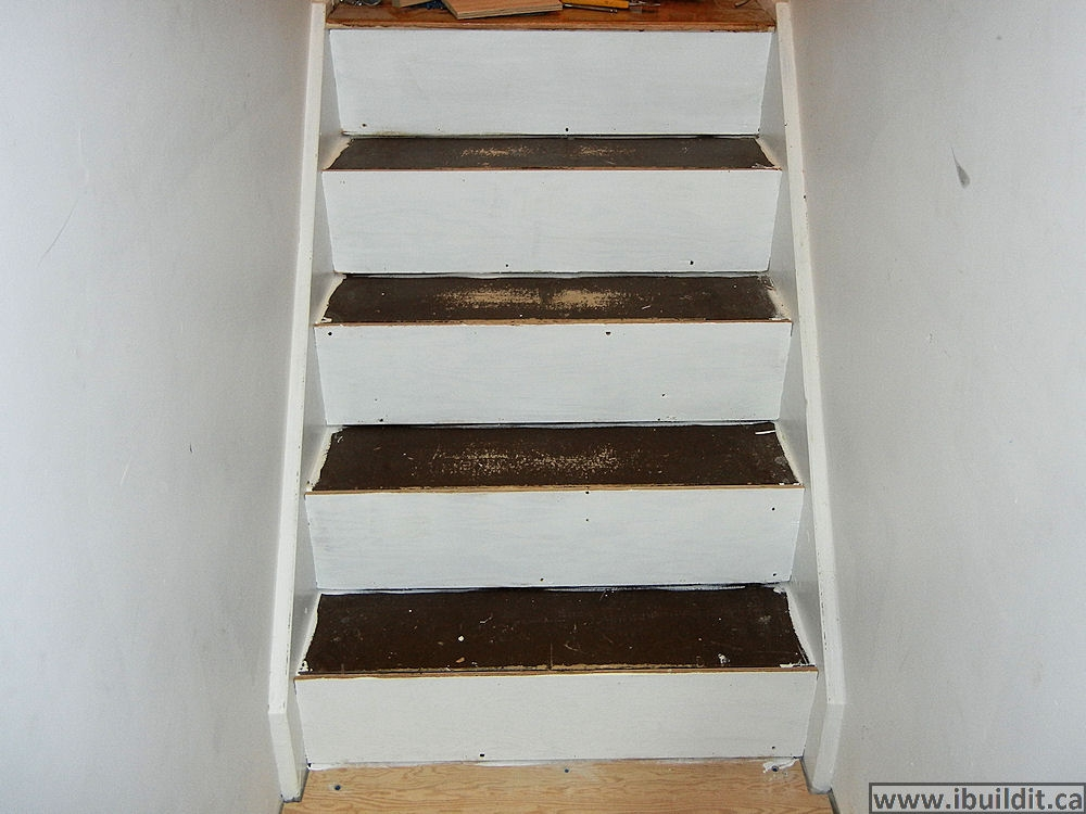 How To Cover Basement Stairs Ibuildit Ca   Refinishing Builder Grade Stairs   Diy   Basement Stairs   Staircase Makeover   Flooring   Carpeted Stairs