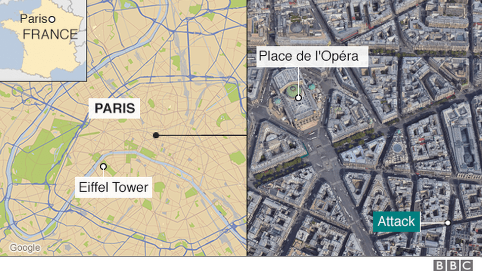 Paris attack  Knifeman kills one before being shot by police   BBC News map