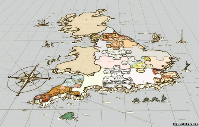 The awkward jigsaw of England s boundaries   BBC News Map of UK jigsaw
