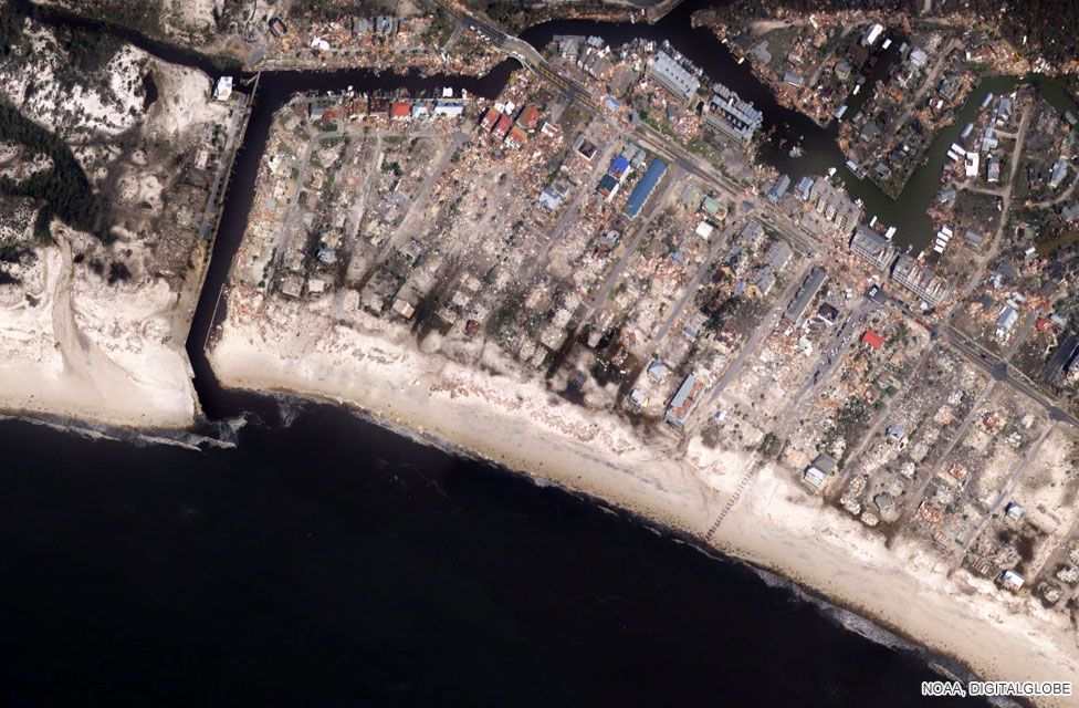 In pictures  Hurricane Michael leaves destruction in its wake   BBC News Mexico Beach City Pier  satellite image taken on 11 October 2018