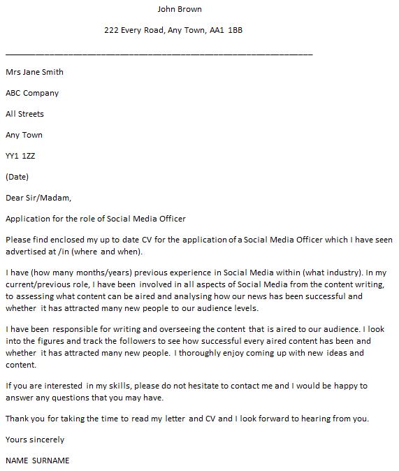 Social Media Officer Cover Letter Example Icover Org Uk
