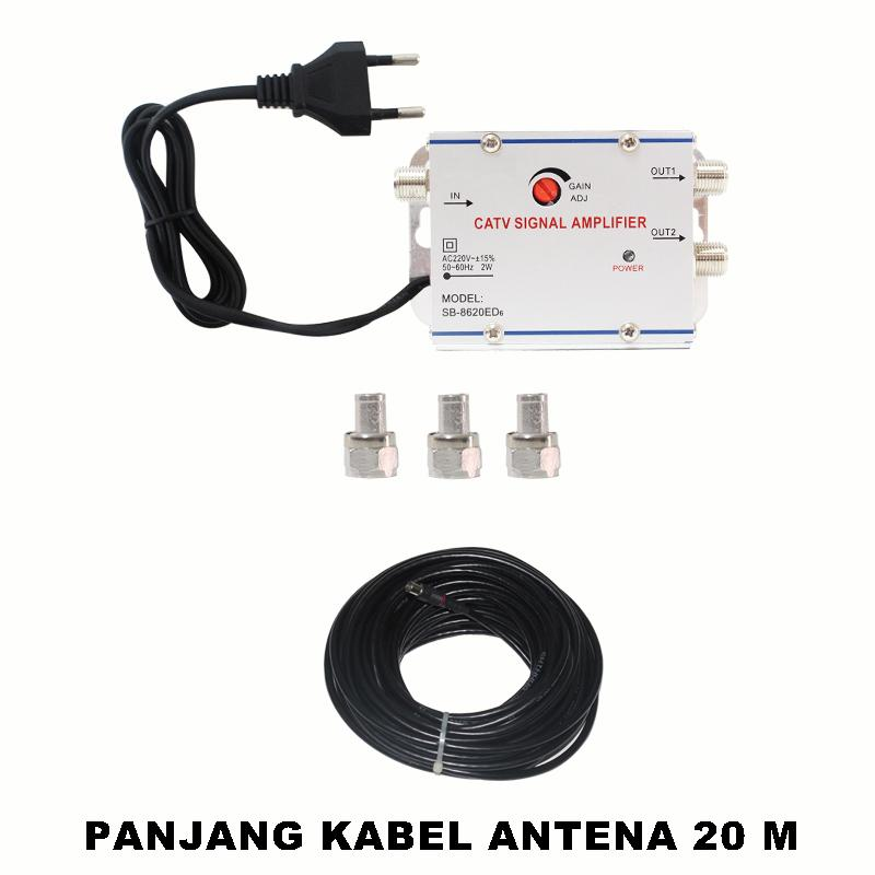 EELIC CSA-8620ED6 MIX PENGUAT SINYAL 20 dB CATV SIGNAL AMPLIFIER TV BROADBAND 1 INPUT 2 OUTPUT BOOSTER INDOOR  2 Watt TELEVISI MIX + KAA-20M KABEL ANTENA TV 20 METER BERKUALITAS TINGGI