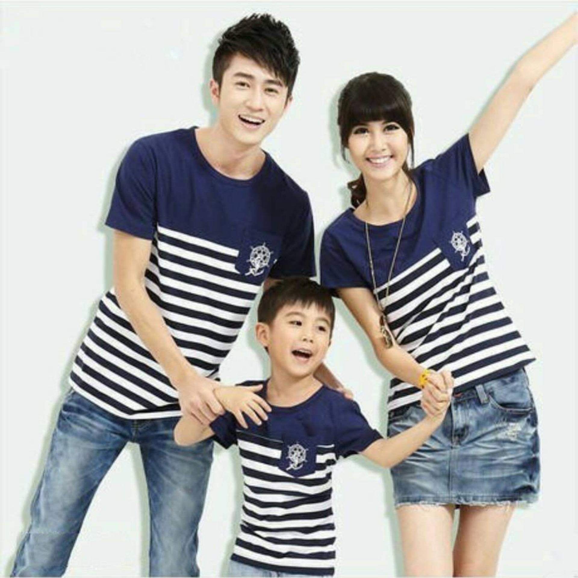 Fashion Flower Baju Keluarga Kaos Family Family Couple Sailorstripe  Anak