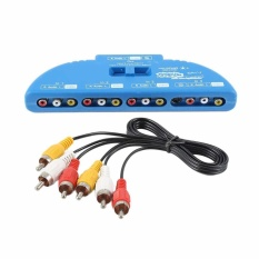 4-Way Audio Video AV RCA Composite Switch Selector Box Splitter dengan AV Kabel-Intl