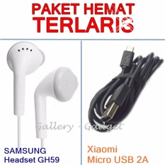Paket Hemat Headset GH59 +Xiaomi Kabel Data Micro USB 2A - Original
