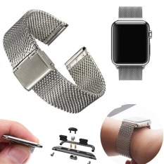 Steel Strap + Adapter Tunggu Mesh untuk Apple Watch 42mm-Intl