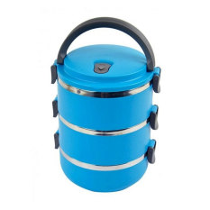 555 Lunch box Rantang susun 3 stainless steel - biru