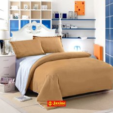 Alona Ellenov Putih Coklat Muda Sprei With Bed Cover Katun – coklat