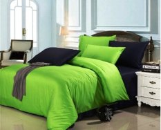 Jaxine Bed Cover Katun Prada Tanpa Sprei  Hijau Hitam Uk. Double