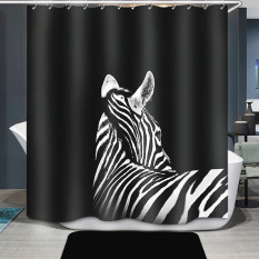 Zebra Printing Kamar Mandi Shower Curtain Waterproof H1532e1