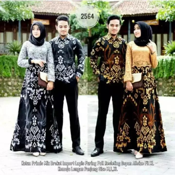Model Gamis Batik Pesta Couple 27