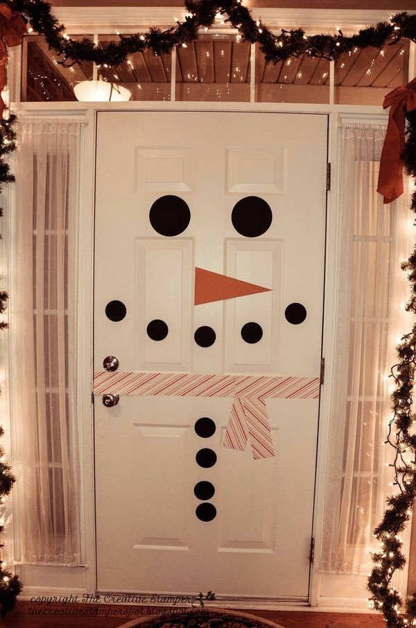 20  Awesome Winter Decorating Ideas   Tutorials 2017 Snowman Door Decor  Creative idea to decorate your inside door as a  snowman  So