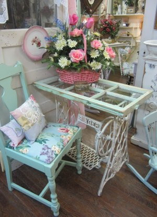 Blue Floral Accent Chair