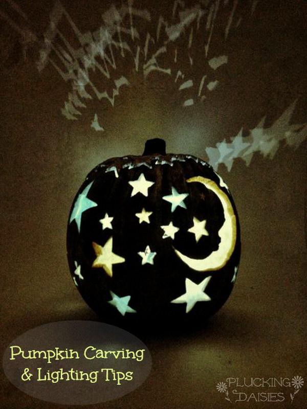 Moon Stars Pumpkin Carving Templet