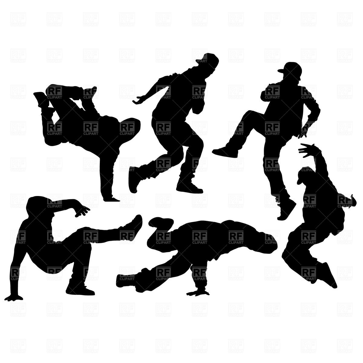 Hip Hop Dance Silhouettes Clip Art