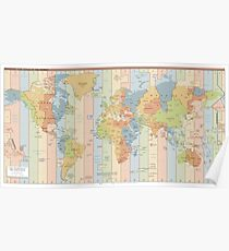 Time Zone Map  Posters   Redbubble World Time Zone Map Poster