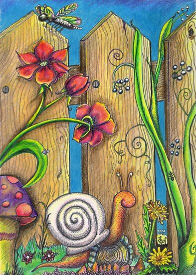 """""""Garden Fence Whimsical drawing"""" by Vicki Noble 