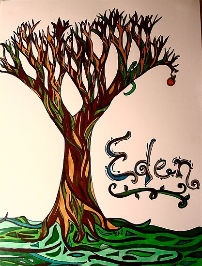 """""""Garden of Eden Drawing"""" by BeccaAlysse 
