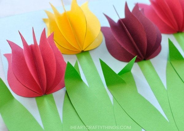 Gorgeous 3D Paper Tulip Flower Craft   I Heart Crafty Things Your paper tulip flower craft is complete