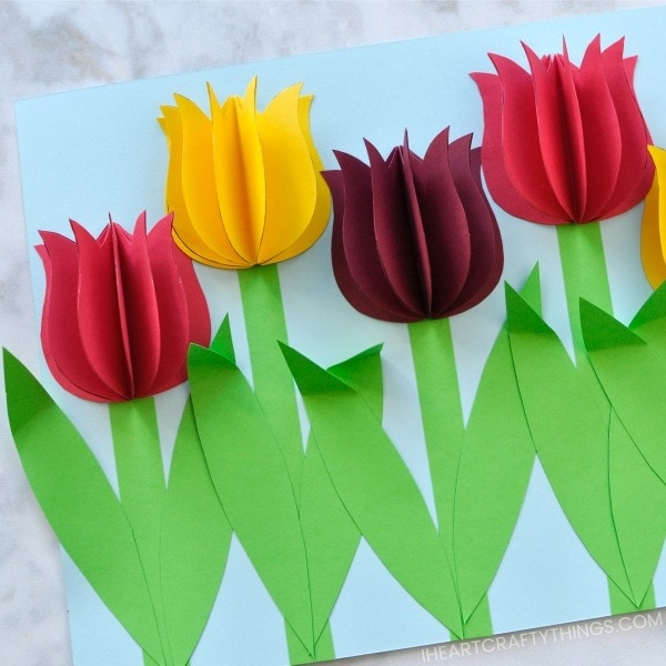 Gorgeous 3D Paper Tulip Flower Craft   I Heart Crafty Things The mixture of the tulips popping of the page in a 3D effect and the  bright  vibrant colors makes this paper tulip flower craft a show stopper