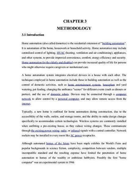 Home Automation System Project Thesis Proposal