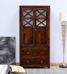 Buy Kryss Solid Wood Two Door Wardrobe in Provincial Teak Finish by     Kryss Solid Wood Two Door Wardrobe in Provincial Teak Finish by Woodsworth