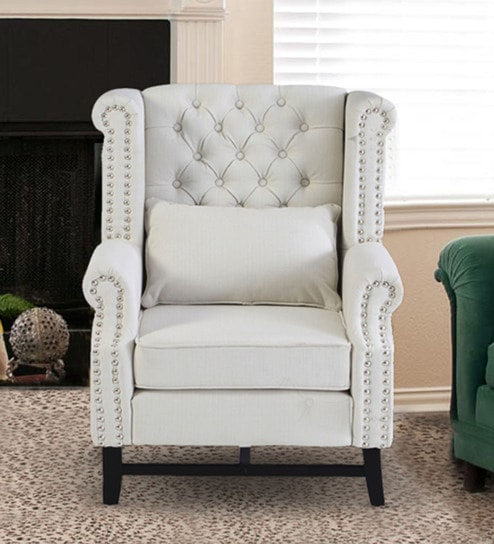 Accent White Chair Tufted
