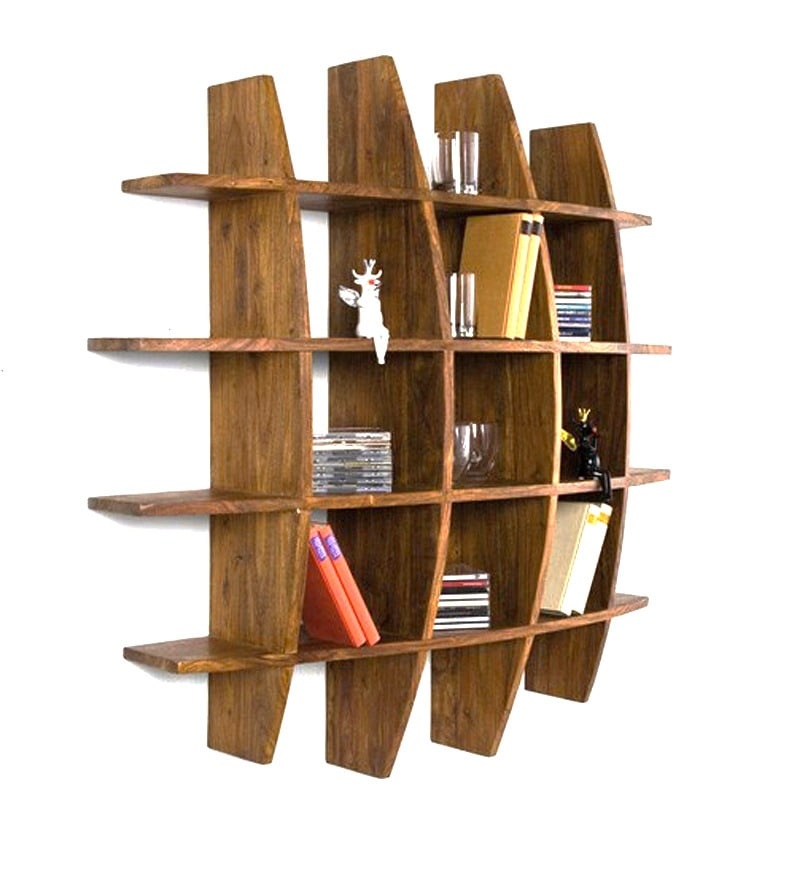 Buy Curvy Round Shaped Wall Rack By Wood Dekor Online