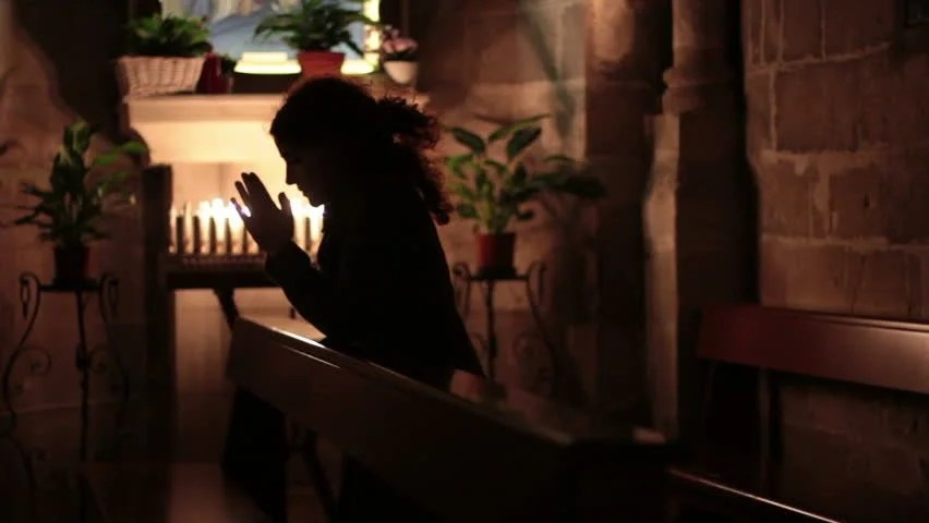 Woman Praying In Church Stock Footage Video 2133992 ...