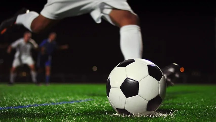 Detail Soccer Player Kicking Ball On Field Slow Motion ...