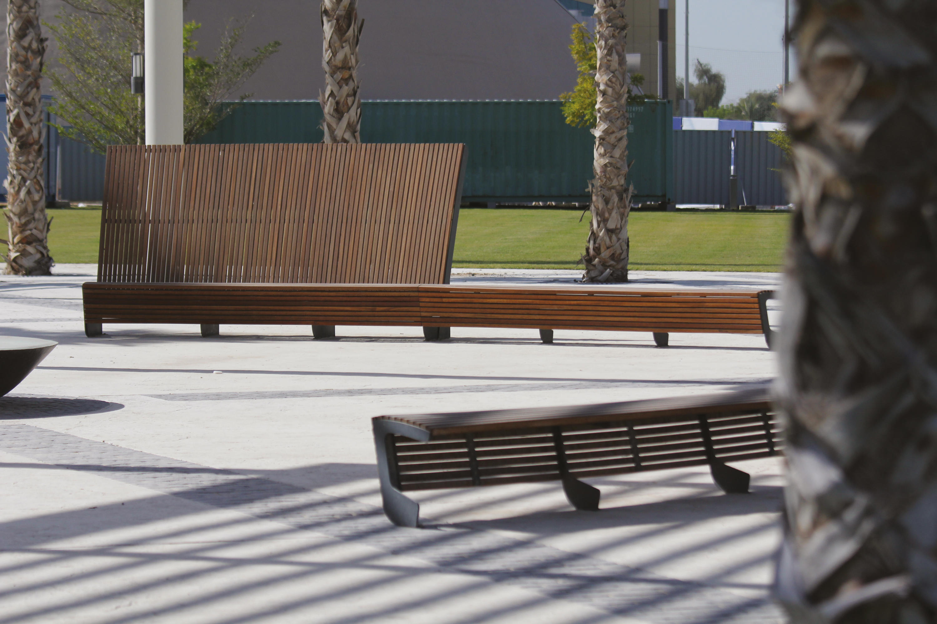 Landscape Curved Park Bench With High Backrest Benches