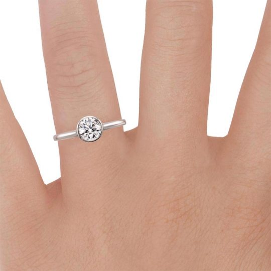 18K White Gold Luna Ring with Petite Channel Set Round Diamond Ring     18K White Gold Luna Ring with Petite Channel Set Round Diamond Ring    Brilliant Earth