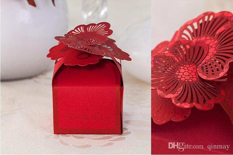 2016 Delicate Paper Candy Boxes Gift Boxes Wedding Favors Red Square     2016 Delicate Paper Candy Boxes Gift Boxes Wedding Favors Red Square Flower Cake  Box Hollow Laser Cut Wedding Supplies Favor Box Kraft Gift Boxes From