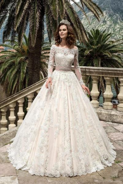 Discount 2017 Blush Pink Princess Wedding Dress A Line Bateau Lace     Discount 2017 Blush Pink Princess Wedding Dress A Line Bateau Lace  Embroidered Sheer Long Sleeve Crystal Sash Sweep Train Wedding Bridal Gowns  Top Wedding