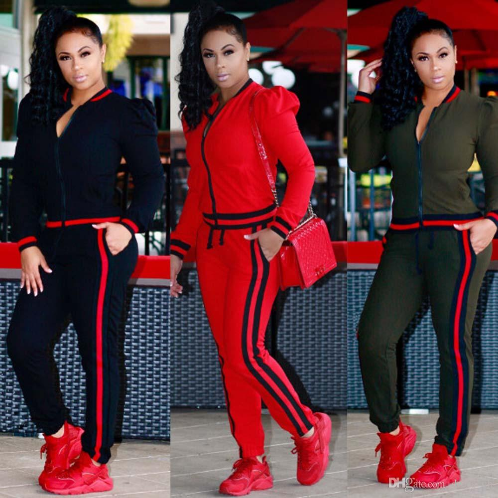 Buy Womens Casual Fashion Autumn Long Sleeved Two Piece Jogger Set     Buy Womens Casual Fashion Autumn Long Sleeved Two Piece Jogger Set Ladies  Fall Tracksuit Sweat Suits In Bulk From Women s Tracksuits   Dhgate Com