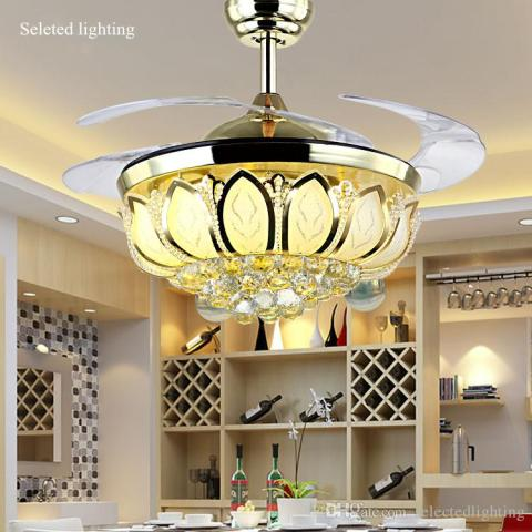Online Cheap 42 Inch Ceiling Fan Crystal Chandelier Lotus Ceiling     Online Cheap 42 Inch Ceiling Fan Crystal Chandelier Lotus Ceiling Light  Changeable Light Colors Remove Control Ceiling Fans Light Living Room By
