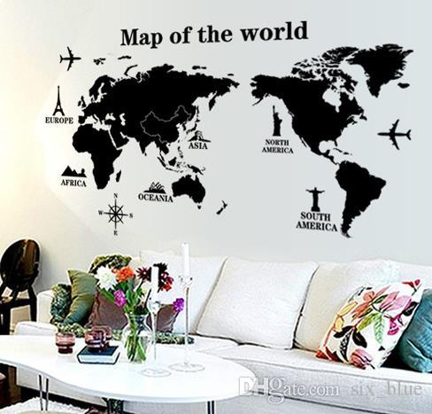 Wall Stickers Black Map Of The World Vinyl Wall Letter Quotes Decals     see size details for this wall sticker as below