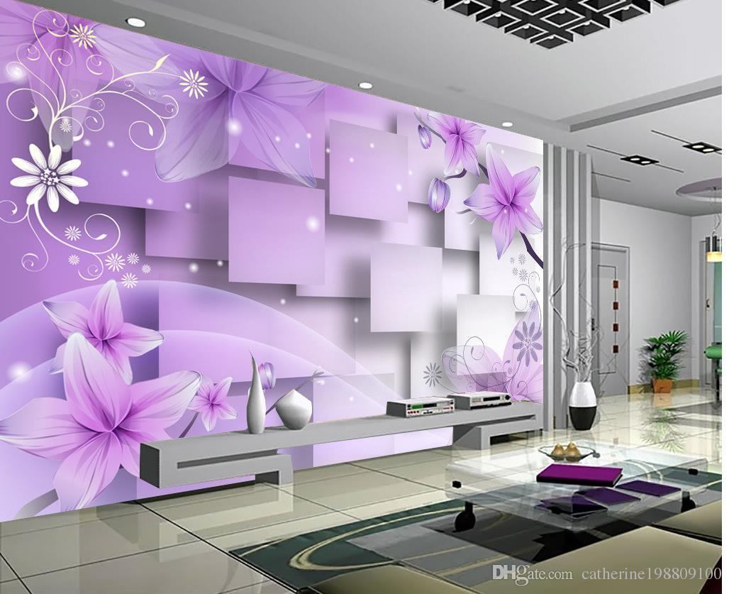 Photo Customize Size 3d Purple Warm Flowers Tv Wall Mural 3d     Photo Customize Size 3d Purple Warm Flowers Tv Wall Mural 3d Wallpaper 3d  Wall Papers For Tv Backdrop Hd Wallpaper Backgrounds Hd Wallpaper F From