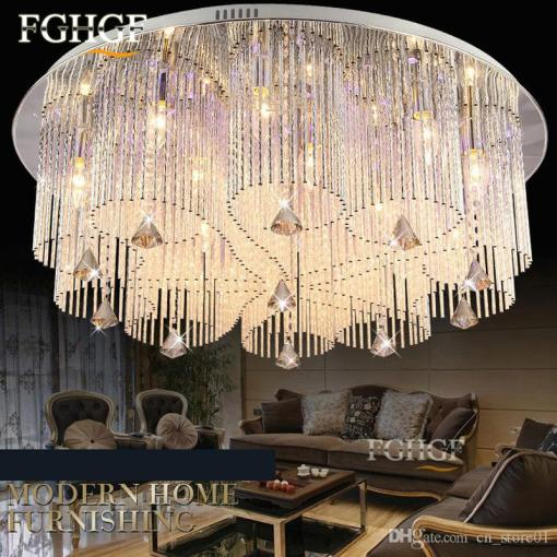 2018 New Design Rgb Led Crystal Ceiling Light Modern Dinning Room     2018 New Design Rgb Led Crystal Ceiling Light Modern Dinning Room Crystal  Chandelier Lamp Lighting Fixture With Remote Control Flush Mounted From  Cn store01